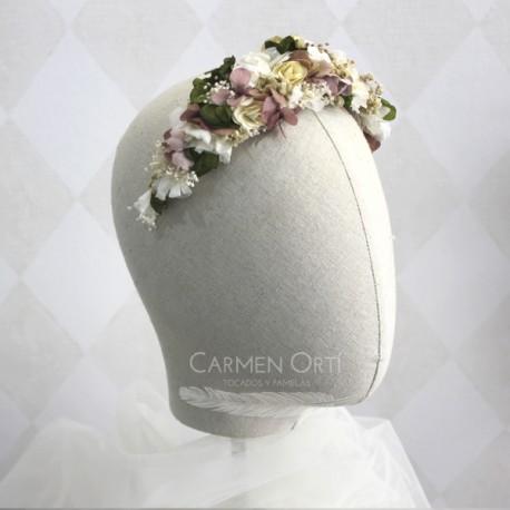Tiara vintage de flores preservadas